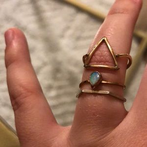 3 gold rings- octagon, opal, triangle ring